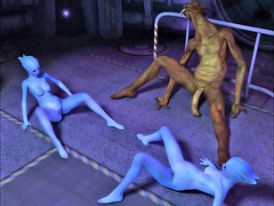 Wonderful blue 3D aliens getting impregnated and giving birth - alien gallery