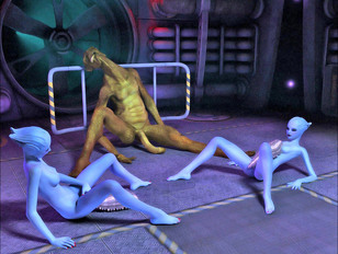 Lustful blue 3D aliens getting impregnated and giving birth - alien gallery