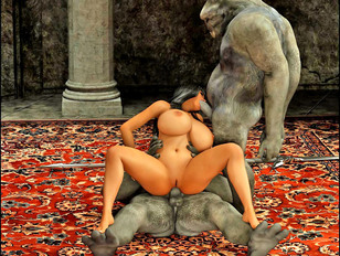 Hot and horny 3D babe getting some threesome action with trolls