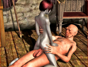 Kinky flat chested 3d bitch loves sucking hard slimy monster cocks.