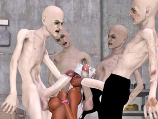 Horrible zombies forcing 3D chick to suck their huge hard dicks
