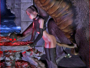 Sex starved 3D cutie having sex with a large horny dragon