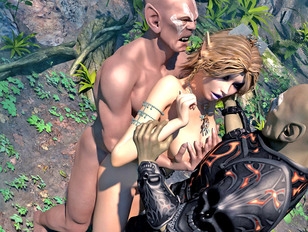 Tempting fantasy babes getting brutally violated in the jungle by freaks