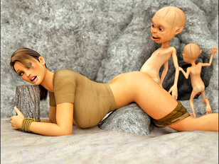 Caught tied beautiful tomb raider getting brutally raped by horny gnomes