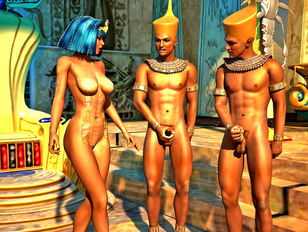 Hot horny 3D Egyptian empress getting fucked by men and women