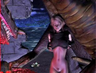 3D babe with round tits getting fucked by a horny dragon