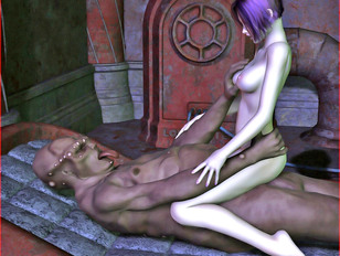 Sexy fantasy babe stretching her tight pussy with a monster cock