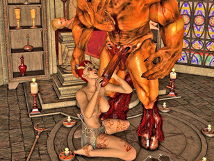 Wicked 3d gallery featuring a busty slut having sex with an ugly beast.