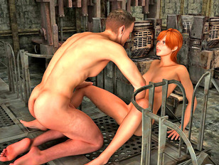 Lustful young 3D girl sucking her lover's hard cock - xxx gallery