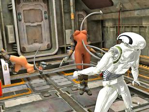 Hot 3D cyber lesbian chicks having fun on the space ship