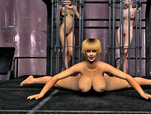 3D prisoner slut spreading legs and showing her pussy and ass