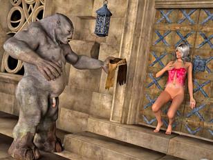Foxy 3D elf babe teasing a troll and getting banged hard