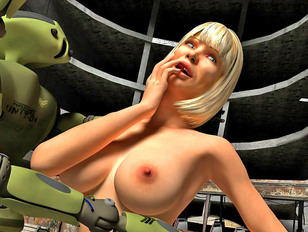 3D busty blonde hottie posing naked and teasing robots - nude gallery