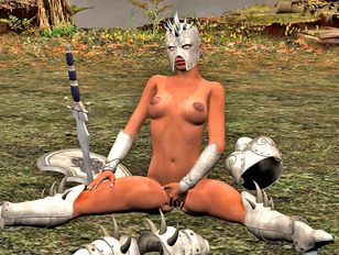 Horny 3D warrior girl masturbating with her sword on the battlefield
