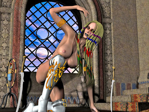 Cute and kinky warrior princess rides hard on her long sword.