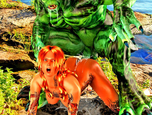 Amazingly sexy fantasy chicks getting banged by bizarre scary monsters