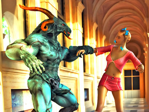 Huge ugly 3d demon rapes a poor unsuspecting human chick.