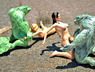 Hot 3D girls with beautiful bodies getting nailed by bizarre creatures