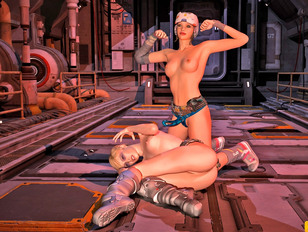 3D cyber dominas fucking sexy chicks with round firm boobs