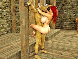 Bizarre 3d pic gallery showing a kinky babe fucked by an evil monster.