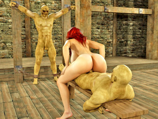 Redhead whore giving a monster a boner while riding another's schlong