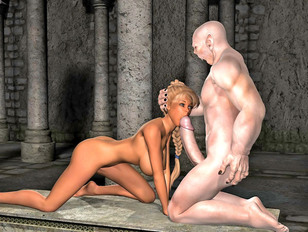 blonde with sexy feet in the middle of 3dmonsterxxx scene