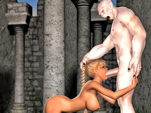 Braided haired 3D chick getting fucked by an aggressive white demon