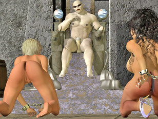 Chained 3D slave babes kneeing in front of horny demon lord
