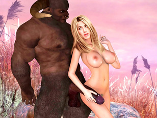 Sexy blonde chick getting fucked by minotaurs and a huge demon