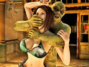 Hot seductive soldier girl captured and raped by a tattooed monster
