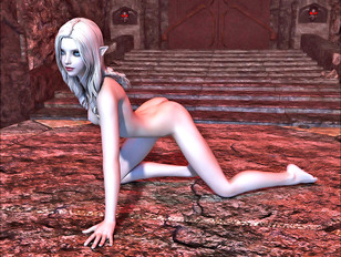 Cute little elf babe getting fucked hard by two large monsters