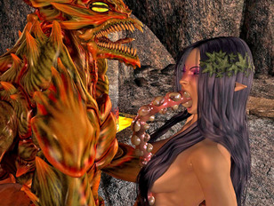 Chained irresistible 3D elf getting brutally raped by a horny phoenix
