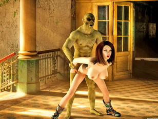 Kinky 3d bitch gets her wet cunt fucked by a fat orc cock.