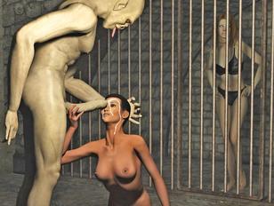Horny troll has an army of slave girls