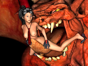 Busty chick getting licked by a giant demon