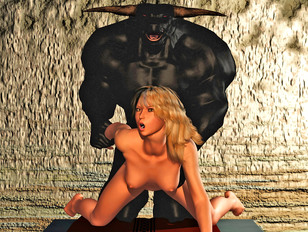 Sexy babe nailed by a minotaur from behind