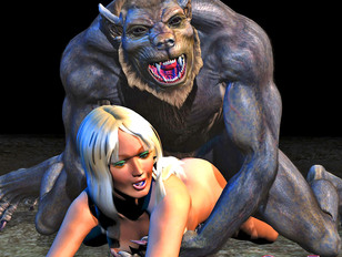 Wild werewolf rapes a hot blonde in the forest