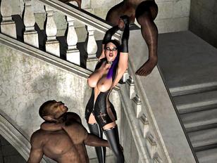 Poor girl stuffed with two ogre cocks