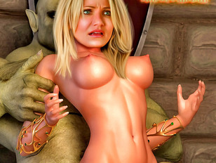 Busty babe eaten out and fucked by ogres
