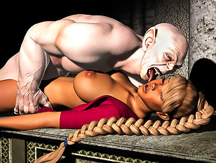 Ghastly beast licking hot blondes face