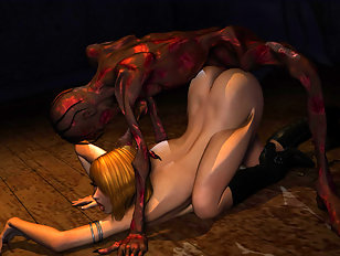Titan creatures skewering poor babe between them