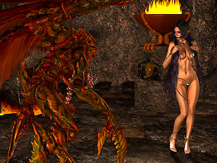 Naked brunette goddess dancing for daunting creature