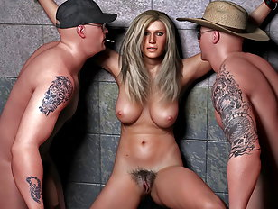 Two guys about to ravage hot tied up blonde
