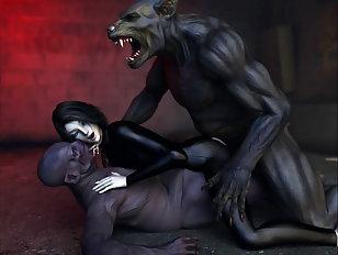 Blonde slave servicing a huge green beast