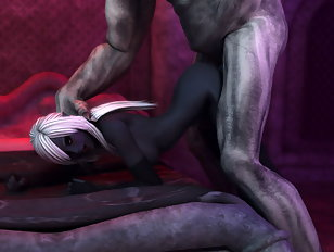 Slender blondie pounded from behind by a giant