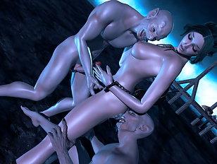 A lot of alien cartoon sex action
