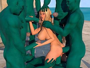 Hot blonde on her knees in 3D monstersex