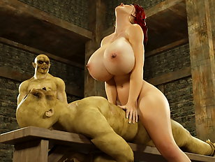 Busty 3d slut rides on a big juicy orc dick.