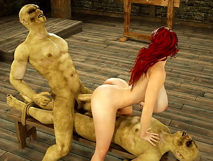 Gorgeous busty 3d chick rides on a juicy orc dick.