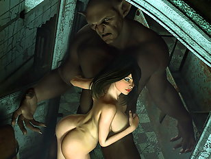 Busty 3d chick is fucked by a horny evil troll.